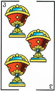 3 de copas - Baraja Española - laguiadeltarot.com