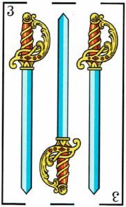 3 de espadas - Baraja Española - laguiadeltarot.com