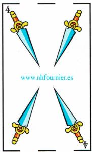 4 de espadas- Baraja Española - laguiadeltarot.com