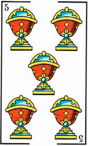 5 de copas - Baraja Española - laguiadeltarot.com