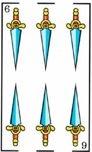 6 de espadas - Baraja Española - laguiadeltarot.com