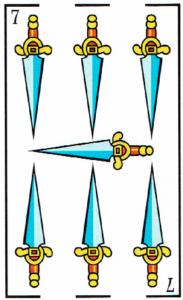 7 de espadas- Baraja Española - laguiadeltarot.com