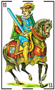 caballo de espadas - Baraja Española - laguiadeltarot.com