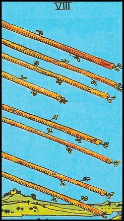 Significado de 8 bastos arcanos menores